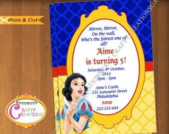 Snow White Invitation - Printable Snow White Invite for Birthday Party or Baby Shower-Custom Disney Princess Party Invite-CraftyCreationsUAE