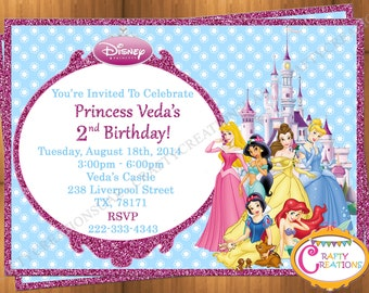 Disney Princess Invitation- Disney Princess Party Invitation- Printable Princesses Birthday Party Invite- Disney Princesses -Customizable