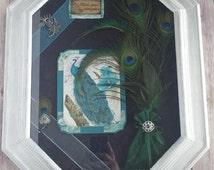 Peacock Shadow Box Silver Frame  Mixed Media Wall Art Up Cycled Eco Friendly READY TO SHIP