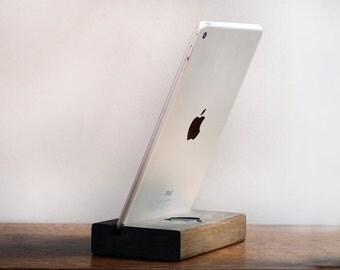 Wood iPad stand, iPad Dark Wooden Stand, iPhone, E Book, Pad Holder, Black Apple Sign, Mens Gift, Handmade Gadget, Alder Tree