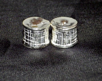 2 x Sterling Silver Column Beads