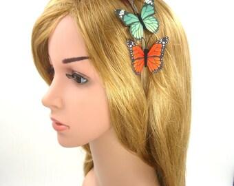 Butterfly Headband,Monarch Butterfly Crown,Headpiece,Silk Fabric Butterfly Hairband,Girls,Women,Adult,Wedding Bridal Hair Accessories,