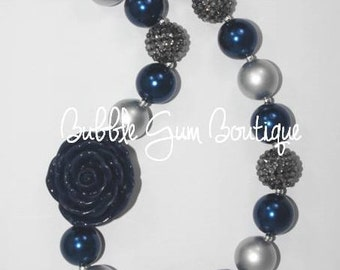 Navy and Silver Necklace with Rose