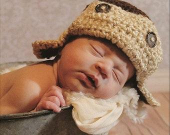 Aviator hat photo prop,Baby pilot hat,crochet Aviator Hat ,Bomber hat,newborn,newborn pilot hat,baby aviator hat,aviator earflap hat