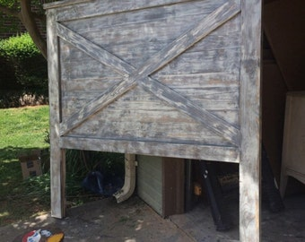 """Poppets + Moon - The Novec X Sky 68""""tall Headboard- Barndoor Style. Rustic. 30+ Finishes! - Grand. Extra Tall. King, Queen, Full- Walnut- Re"""