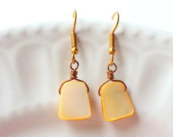 Caramel Shell earrings, Beige earrings, Antique Bronze earrings, Gemstone earrings, Beach jewelry, Boho earrings