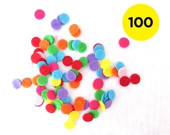 100 x 1cm Felt Confetti - Multiple Colours