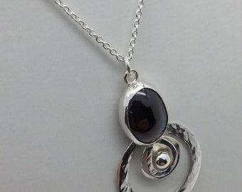 Cabochon Almandine Garnet Silver Pendant