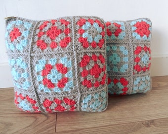 Granny Square Crochet Cushion in coral, grey, turquoise colours * VINTAGE * style