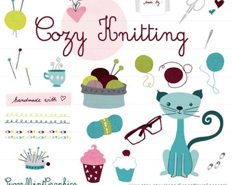 Knitting Clipart Commercial Handmade Wool Needles Pins Glasses Cat Baby Pin Digital Download Handdrawn