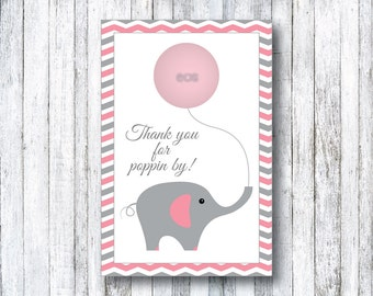 Pink & Grey Elephant Baby Shower EOS Favor Card - PRINTABLE Baby Shower Favor - Lip Balm - Chevron - Grey - Baby Shower Favors - Girl