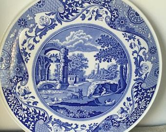 Vintage, blue Spode platter,Blue Italian ,Made in England,cake plate,dessert platter