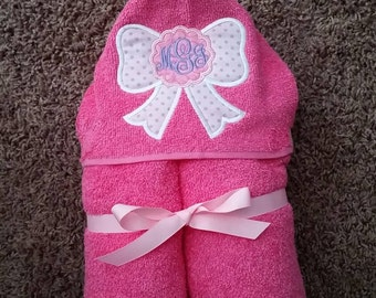 Personalized Pink Bow Monogrammed Hooded Towel