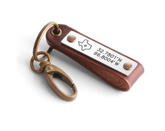 Personalized Latitude Longitude Leather Keychain - GPS Coordinates Leather Keychain - Sate Map Keychain - Can be made with any State Map