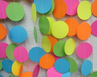 Neon Paper Circles Garland,  Birthday Garland, Wedding Garland, Baby Shower Garland, Photo Prop