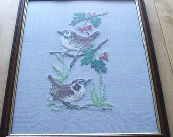 Vintage garden birds embroidery.