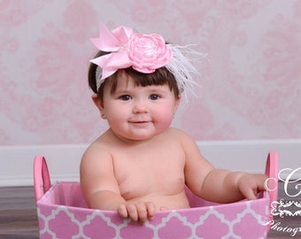 Vintage Inspired Pink Satin & White Lace Headband with Pink Satin Rose in the Center, Pink Baby Headband, Pink Toddler Headband Photo Prop
