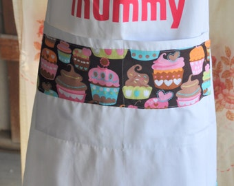 Full Apron with Cupcake Design Fabric