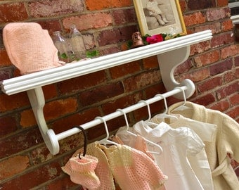 "White wall shelf, 10"" deep shelf, Nursery shelves with rod for Hanging baby clothes, Kids room shelf, Quilt Display, Select options"