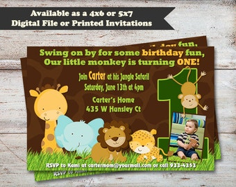 Safari First Birthday Invitations, Animal Party Invitations, 1st Birthday Party, Safari Theme Party, Digital or Printed Invitations, Safari