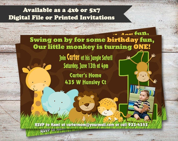 Safari First Birthday Invitations Animal Party Invitations – Safari First Birthday Invitations