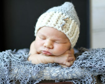 Crocheted baby hat, elf hat, crochet baby beanie, baby accessory, baby beanie, gnome hat, photo prop, baby gift, layette