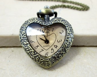 Vintage Style Watch Necklace Victorian Heart Shaped Pocket Watch Clock Necklace Love Jewelry Antique Bronze Women Lady Watch Gift For Her