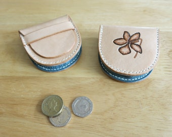 Leather coin pouch, hand-stitched, with embossed violet motif