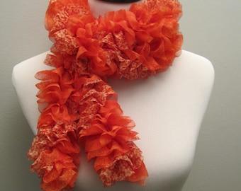 Pretty Red Ruffled Fabric Scarf