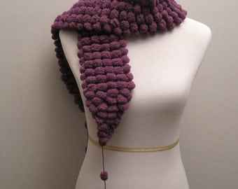 Out-of-the-Ordinary Purple Pom Pom Scarf