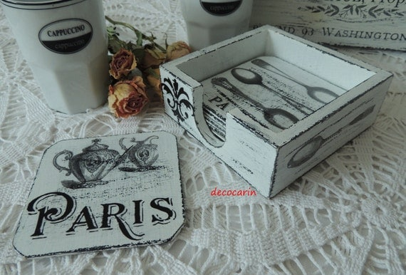 Set 6 Coasters & Holder, Shabby Chic Vintage French Paris Home Decor Kitchen Decoration Ornament, Shabby Paris Cafe Coffee Tea White Coaster
