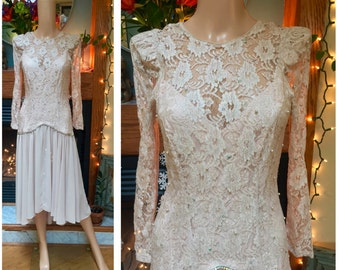 Vintage Sheer Lace Wedding Chiffon Dynasty Rhinestone Sequin Party Dress S M