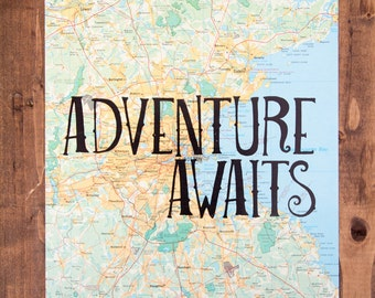"Boston Detail Map Print, Adventure Awaits, Great Travel Gift, 8"" x 10"" Letterpress Print"