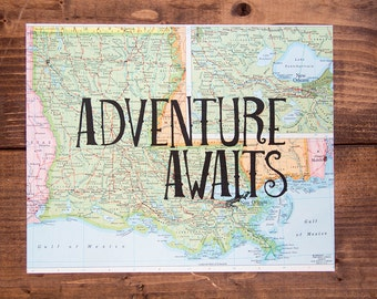 "Louisiana Map Print, Adventure Awaits, Great Travel Gift, 8"" x 10"" Letterpress Print"