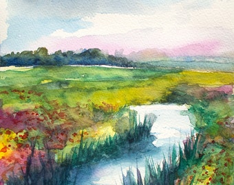 Watercolor painting, original wall art, landscape art,May flowers, river, colorful, 8x8
