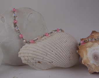Pink beaded chain necklace