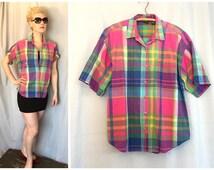 Pink Plaid Shirt Vintage short Sleeve Button Down Blue Green Yellow Hunt Club 100% Cotton Women's Large