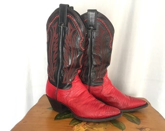 Red Boots Heels Lizard Skin Justin Black Leather Embroidered Cowgirl Cowboy Western Vintage Women's US 5.5 B