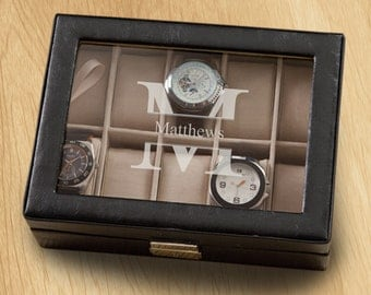 monogram watch monogrammed mens watch box personalized watch box groomsmen gifts gifts for him gifts for dad gifts for men gc1400