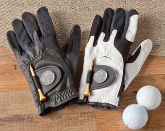 Personalized Leather Golf Glove with Magnetic Ball Marker - Golf Gifts - Groomsmen Gifts - Gifts for Him - Groomsmen Gifts - RO004