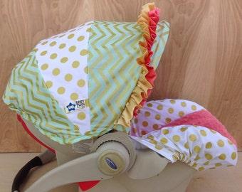 Infant Car Seat Cover- Gold Glitz/ Coral
