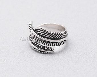 Vintage Leaf ring, Leaf 925 Sterling Silver Ring, Womens ring, Mens ring