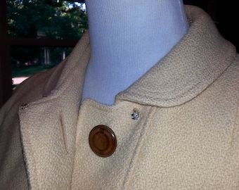 Vintage Big Button Car Coat for Fall and Spring Honey Mustard Gem of a Gal M