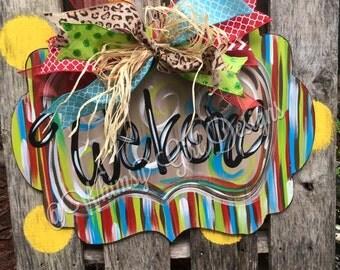 Funky Welcome Door Hanger