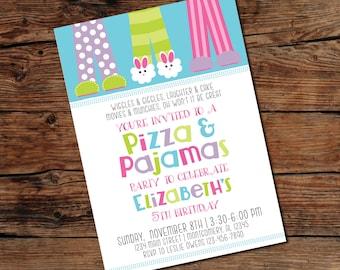 PRINTABLE Pizza and Pajamas Party Invitation - Digital File - Print-at-Home