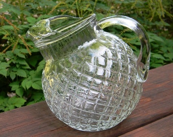 Vintage Pressed Glass Tilted Ball Pitcher, Waffle Pattern, Tiltled Ball Jug, Water Pitcher, Juice Pitcher