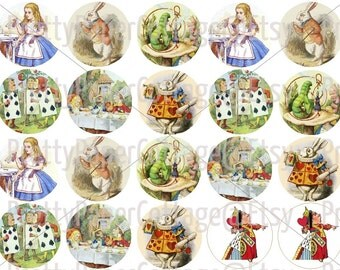 Alice In Wonderland, Instant, Digital Download, Printable, Mad Hatter, Tea Party, Bridal Shower, Birthday Party, Halloween, DIY, PDF, 2 Inch