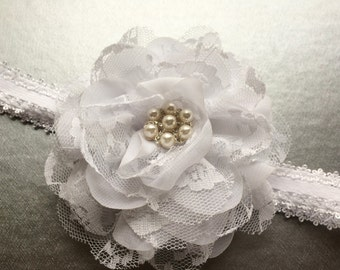 White Christening Headband for Infant - Baptism Headband - Lace Flower Girl Headband - Pearl and Lace Baby Blessing Headband for Girls