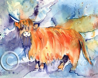 FUNKY HIGHLAND COW Scotland art print of original watercolour painting Scottish animal cattle watercolor