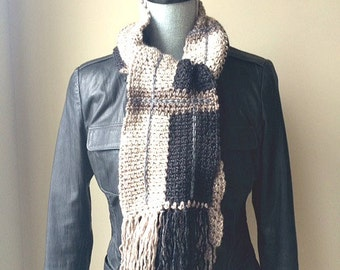 Plaid Crochet Scarf